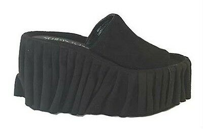 New Women's Jeffrey Campbell-Cortina-Suede Platform Slides-Black-US Sizes 7,9,10