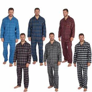 Mens-Boys-100-Cotton-Flannel-Long-Sleeved-Pyjamas-Pyjama-Set-Check-Size-M-XXL