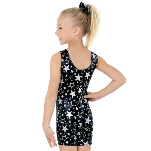 NEW Black Silver Foil Metallic Hologram Stars Gymnastics Biketard Unitard Child