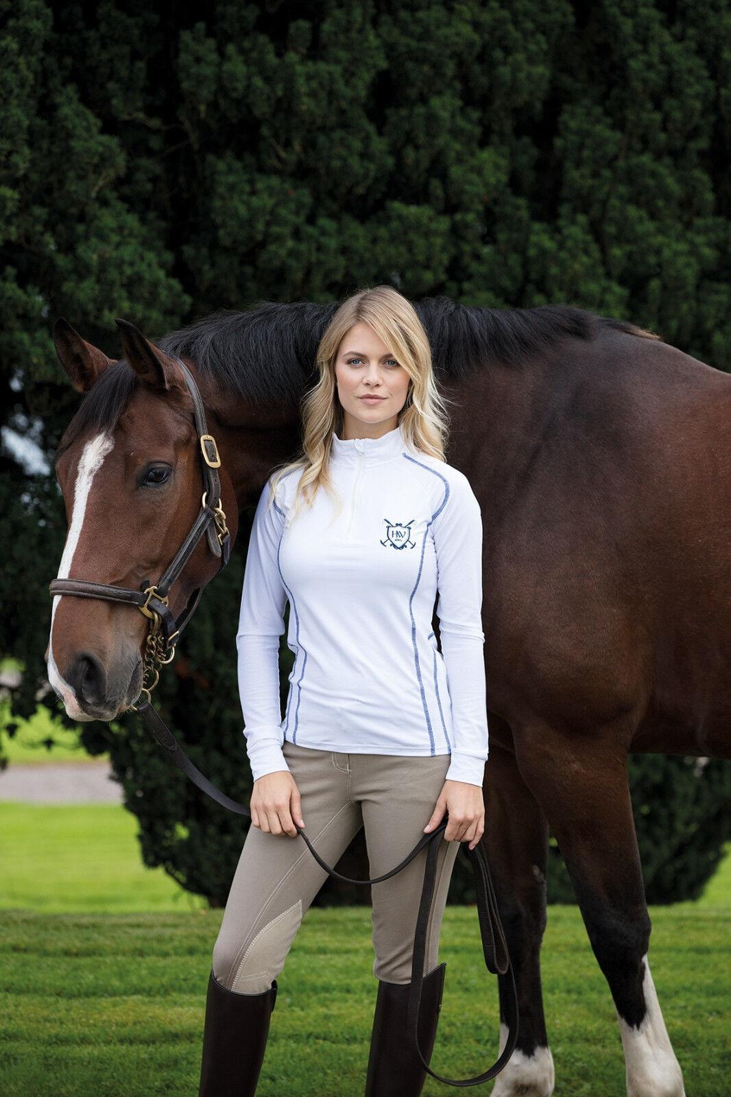 Horseware Ladies ELENA Half Zip Technical Long Sleeve Top White  Navy XXS-XXL