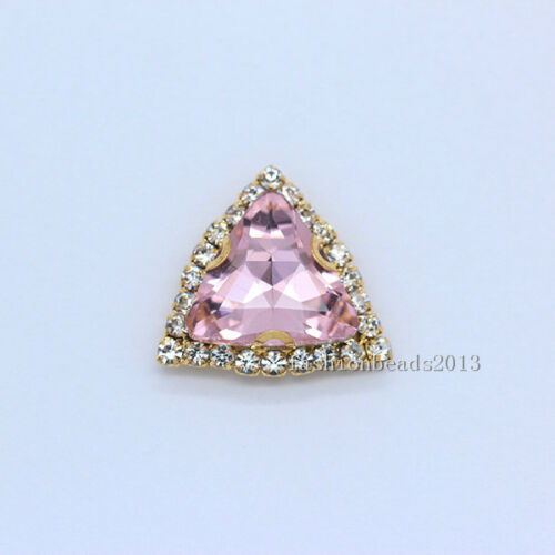 15p 18mm cose en Cristal Estrás Triángulo Vestido Adorno de fabricación de joyería del grano