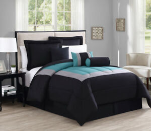 7-Piece-Rosslyn-Black-Teal-Comforter-Set
