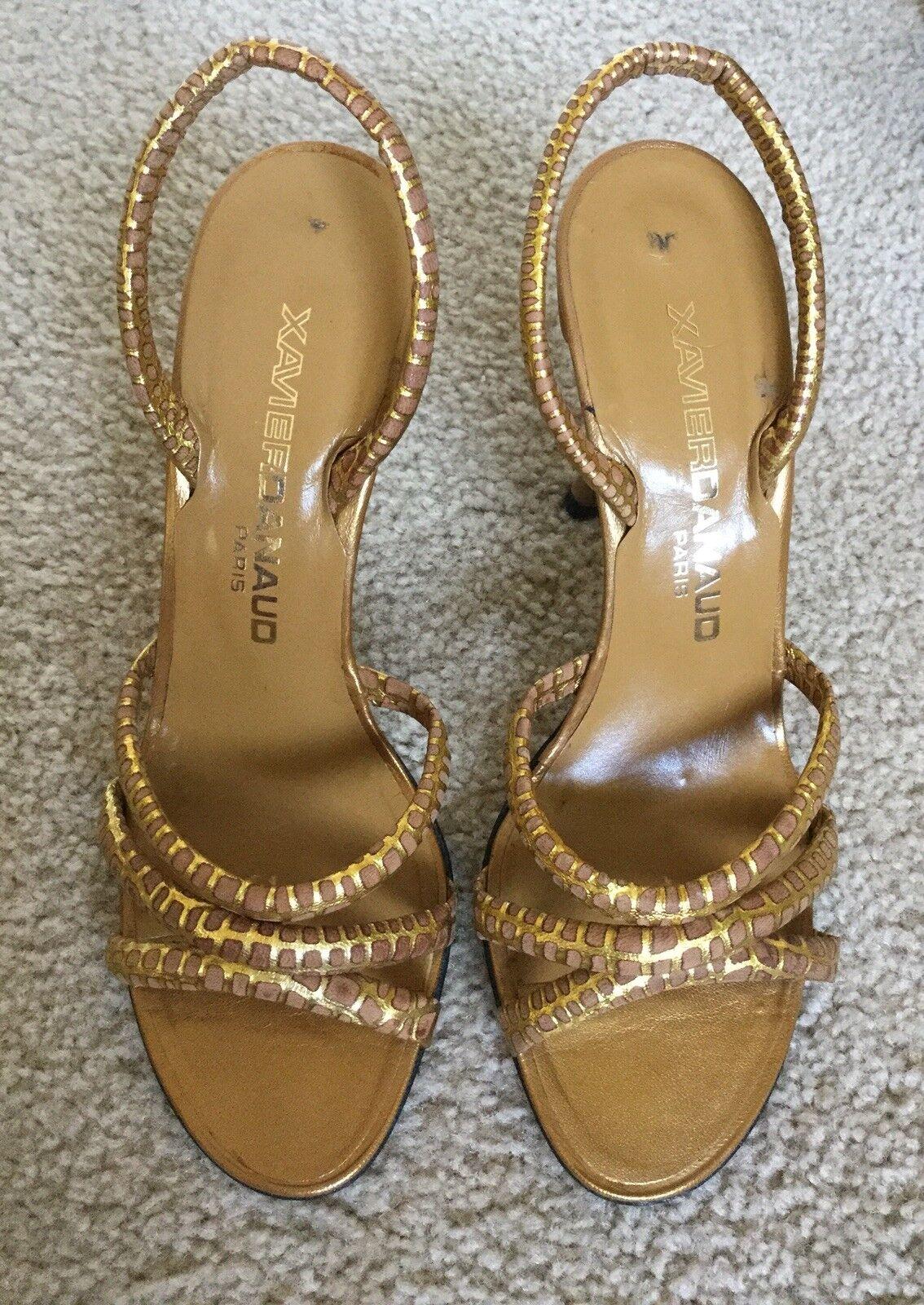 New Vintage Xavier Denaud Paris Nude Gold Leather Slingback Sandals France
