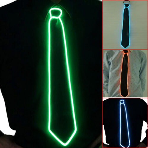Flashing LED Light-Up Neck Ties Striped Luminous Party Sequins Bowtie Blinking