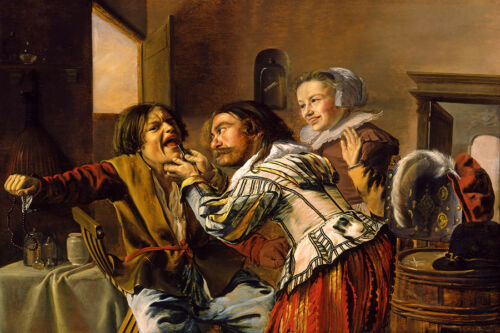 THE DENTIST SUFFERING PATIENT 1629 DUTCH PAINTING BY JAN MIENSE MOLENAER REPRO