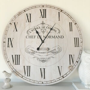 Large-60cm-Vintage-Rustic-White-Wall-Clock-French-Provincial-Hamptons-Neutral