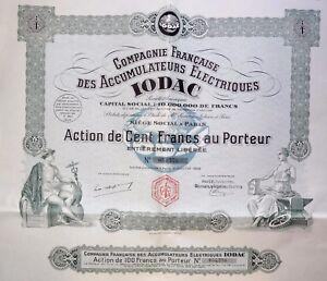 Compagnie Française Des Accumulateurs Électriques Iodac Action 100 Francs 1928 B8x2jkdt-07221357-741024047
