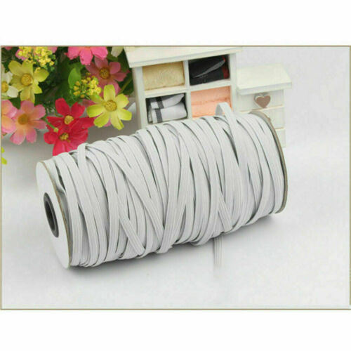 "200 yards 6mm 1//4/"" White Satin Elastic Cord Spandex Band Sewing Trim Braided DIY"