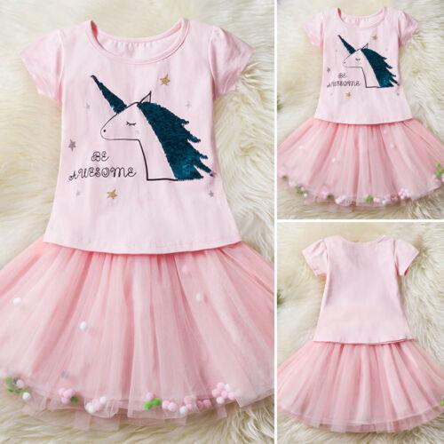 Unicorn Girls Kids Party Tutu Tulle Skirt Dress Rainbow Lace Mini Dress Outfits