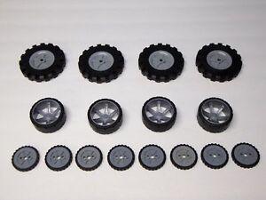 KNEX-Wheels-Mix-3-5-034-2-5-034-1-75-034-Tires-w-Gray-Pulleys-Hubs-Rims-Parts-Pieces-Lot