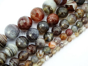 Natural-Botswana-Agate-Faceted-Gemstone-Round-Beads-15-039-039-4mm-6mm-8mm-10mm-12mm