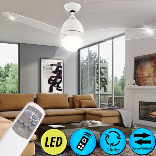 Deckenventilator LED Beleuchtung Fernbedienung transparent satiniert Nickel Glas