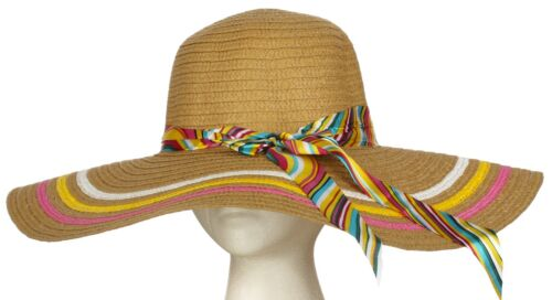Women/'s Large Brim Floppy Hat with 3 Outlines and Colorful Band