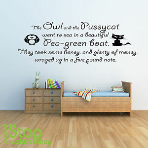 Image Is Loading THE OWL AND THE PUSSYCAT WALL STICKER QUOTE  Part 75