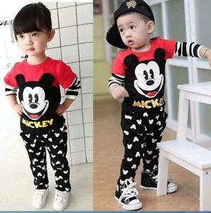 2pcs Mickey Boys Girl Long Sleeve  Cotton Tops+Pants Kids Cartoon Sport Clothes