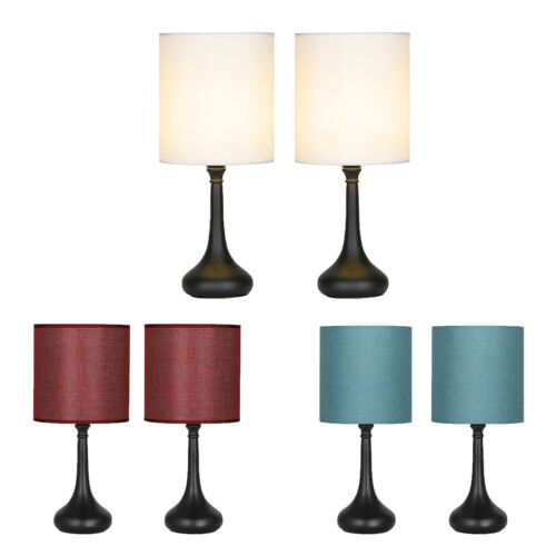 2× Bedside Lamp Table Light 3 Colors Lampshade Black Base Modern Home Decor.