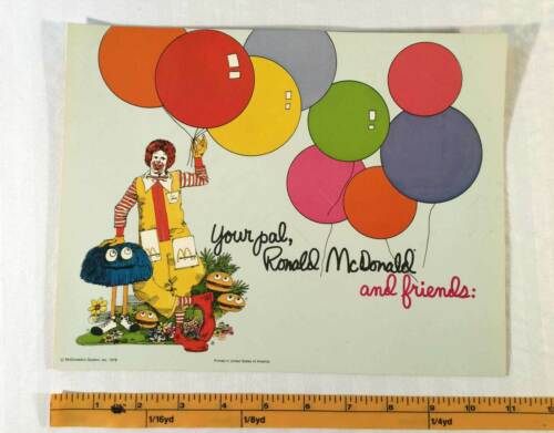 MCDONALDS 1978 Unfolded Thank You Birthday Cards Certificate Slits Vintage New