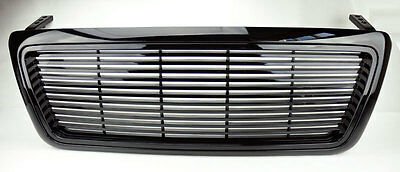 Ford F150 04-08 Horizontal Billet Style Gloss Black Front Hood Bumper Grill