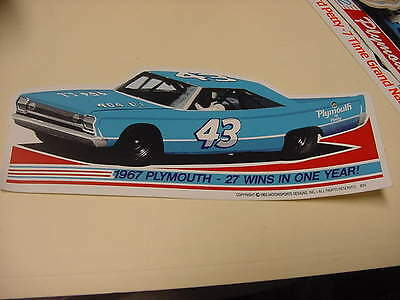 Richard Petty 1967 Plymouth - 27 Wins In One Year!    decal