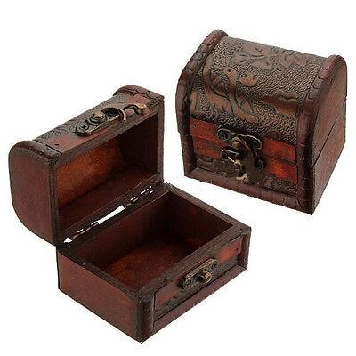 Retro Jewelry Pearl Bracelet Gift Necklace Storage Organizer Wooden Case Box