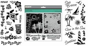 3-Sets-Summer-Holiday-Stamps-Hibiscus-Palm-Trees-Tropical-Paradise-Beach