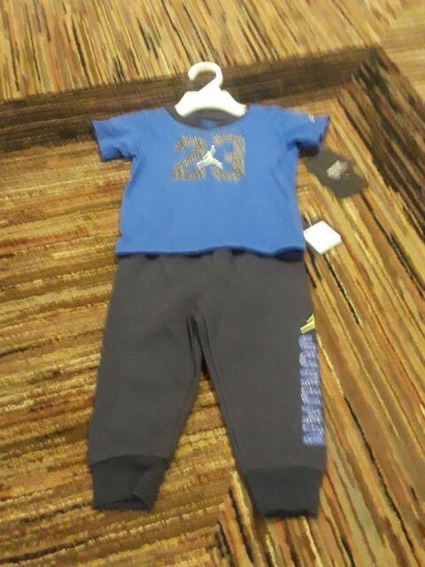 NWT JORDAN NIKE BABY BOYS 2 PIECE SWEATPANTS SHIRTS SET BLUE