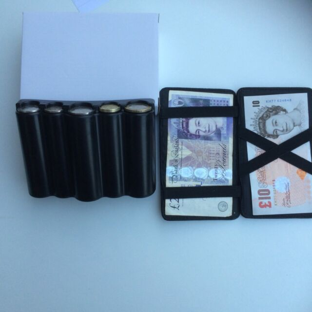 BLACK COIN HOLDER CASH DISPENSER  AND MAGIC WALLET TAXI DRIVER  BUS DRIVER ETC