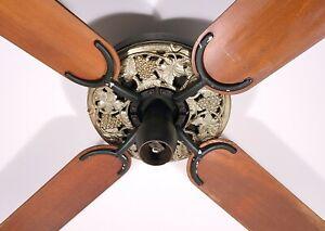 Hunter R52 Vintage Ceiling Fan 1940s Cast Iron W Grape Leaf Plate Cover Ebay