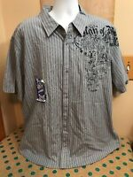 Machine Men's Grey Striped Man Of God Button Front Casual Shirt Size Xxl