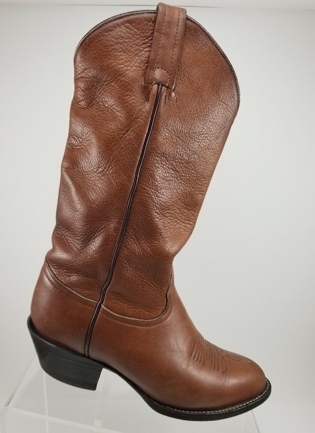 Tony Lama Brown Pebbled Leather Mid-Calf Western Boots Womens 5.5M 1013
