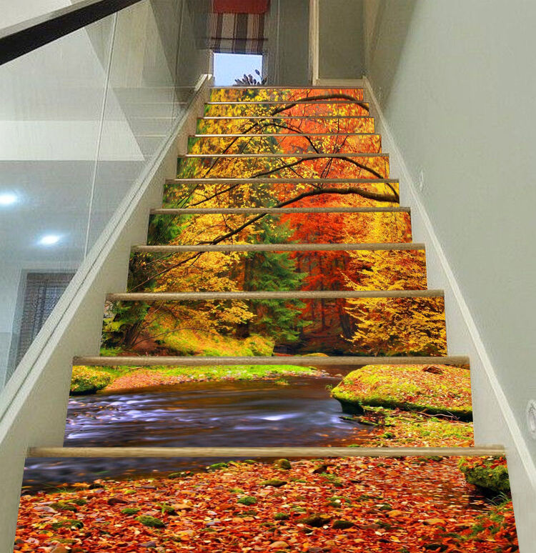 3D Autumn trees 3 Stair Risers Decoration Photo Mural Vinyl Decal WandPapier AU