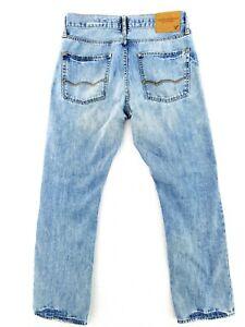 American Eagle 31x30 Slim Straight Leg Blue Jeans Distressed Casual Denim Cool