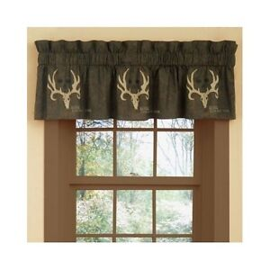 Image Is Loading Bone Collector Window Valance Curtain Rustic Antler Cabin
