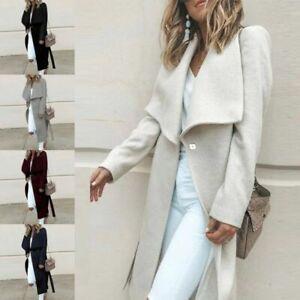 2019-Women-Winter-Warm-Wool-Lapel-Long-Coat-Trench-Parka-Jacket-Overcoat-Outwear