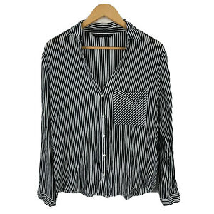 Zara-Womens-Blouse-Top-Size-XL-Black-White-Striped-Long-Sleeve-Collared-Button