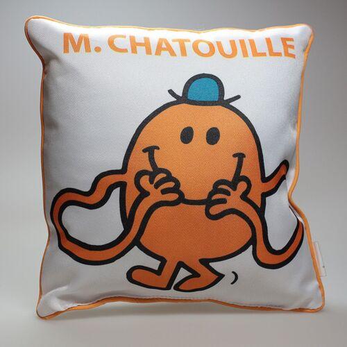 Déco Monsieur et Madame Coussin, Mr Chatouille : Blanc