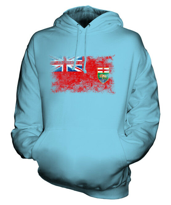 MANITOBA DISTRESSED FLAG UNISEX HOODIE TOP MANITOBAN  JERSEY GIFT