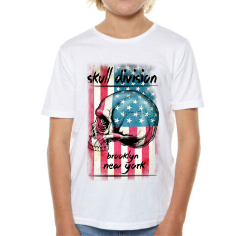 Velocitee Kids T-shirt Teschio Bandiera USA Divisione NEW YORK V105