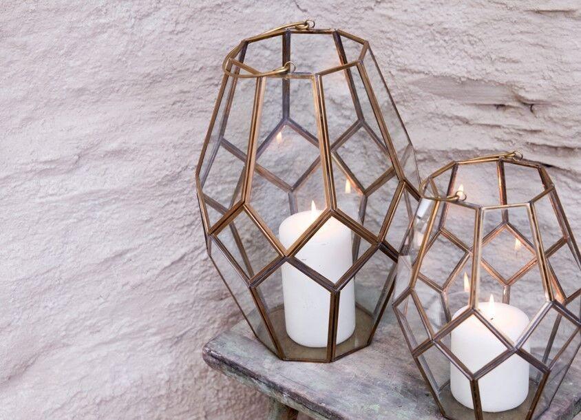 Brass & Glass Lantern L Geometric Terrarium Planter Candle Holder Mohani Nkuku