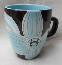 "Laurie Gates Cafe Blues 1 piece Coffee Mug Blue Brown & White 4.5"" X 3.5"" Lovely"