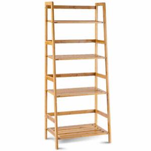 Multifunctional-4-Shelf-Bamboo-Bookcase-Ladder-Plant-Flower-Stand-Rack-Storage