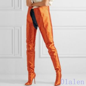 e39bb43be70 Details about Blue Women s Slip On Pointed Toe Satin Over Knee Boot Sexy Waist  High Long Boots