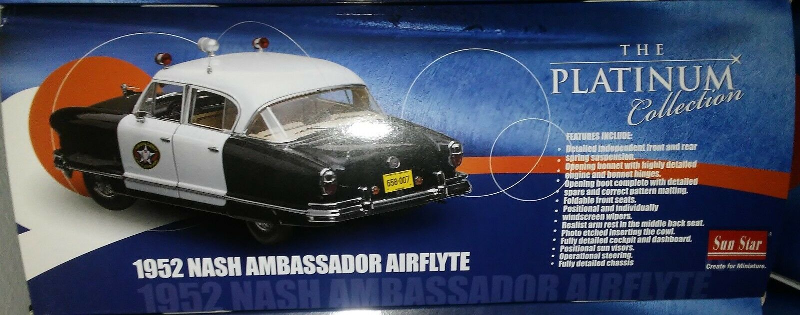 1952 NASH AMBASSADOR AIRFLYTE POLICE Diecast 9inch SUNSTAR 1:18 PLATINUM SS 5115