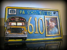 School bus tin license plate picture frame stand or hanging great for bus driver