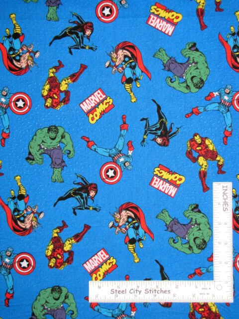Marvel Comic Action Characters Blue 100/% Cotton Fabric by the yard