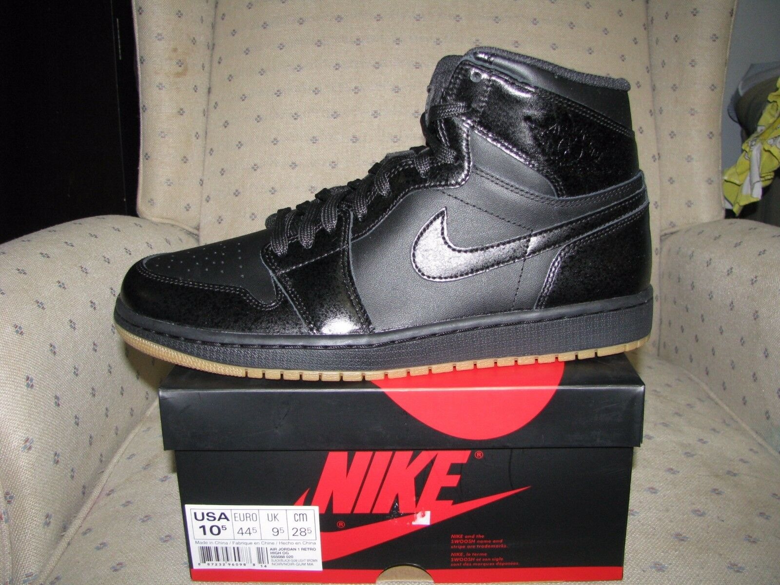 Og Light 1 Air Brown Gum Retro 020 High Men's Blackblack Jordan Nike 555088 AcRq3j45L