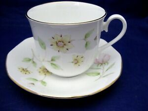 VINTAGE ROYAL DOVER FINE BONE CHINA TEA CUP AND SAUCER - PALE DELICATE FLOWERS