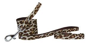 marron-y-Crema-leopardos-Chihuahua-Perro-Cachorro-COLLAR-Y-CORREA-3-TAMANOS-Tela