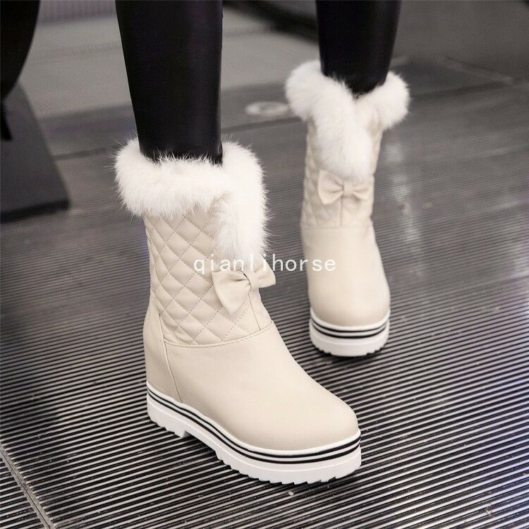 Vogue Women's Bowknots Decor Round Toe Hidden Heel Pull On Warm Snow Ankle Boots