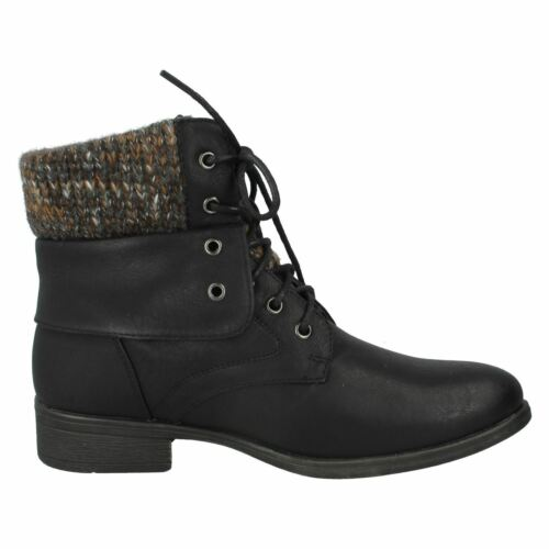 Ladies Black Brown Spot On Lace Up Ankle Boots UK Sizes 3-8 F50613